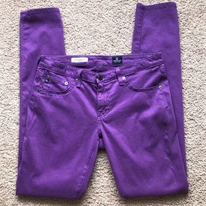 AG Jeans Purple Sateen Legging Super Skinny Sz 29